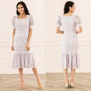 Rachel Parcell Square Neck Lace Ruffle Midi Dress